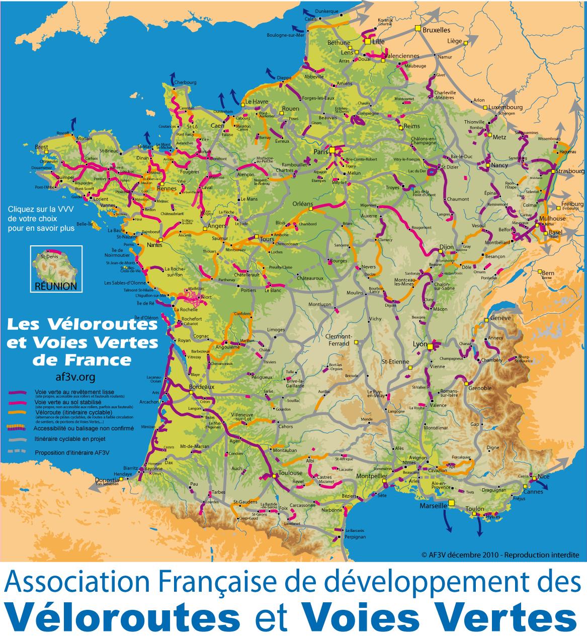 carte des voies vertes en france Carte des Voies Vertes de France Randonnées à Vélo Cyclotourisme